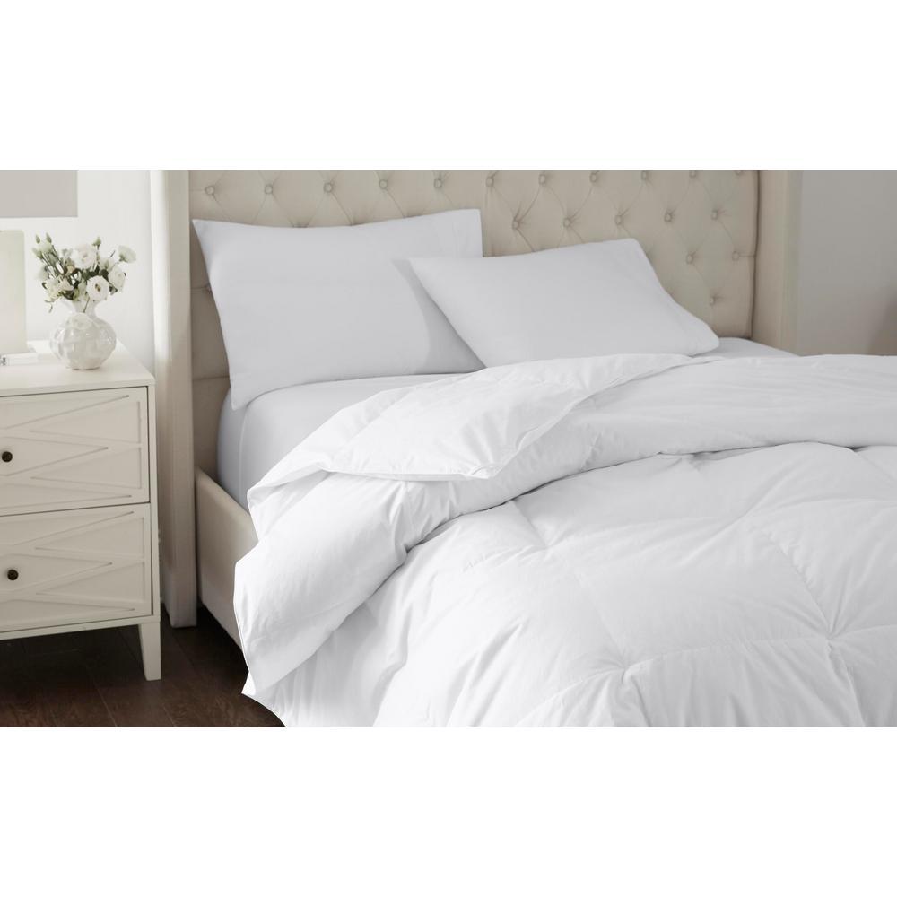Indoor Weather Medium Weight Warmth White Down Comforter 260 Thread Count Dobby