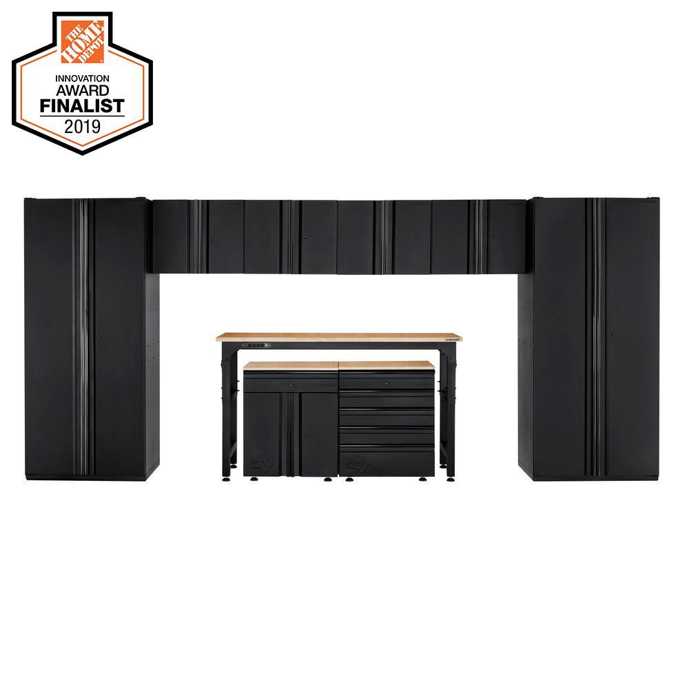 Heavy Duty Welded 184 in. W x 81 in. H x 24 in. D Steel Garage Cabinet Set in Black (9-Piece)