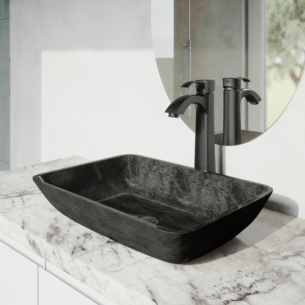Rectangular Gray Onyx Glass Vessel Bathroom Sink Set with Otis Vessel Faucet in Matte Black
