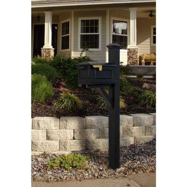 Westhaven Black Post Mounted Non Locking Cast Aluminum Mailbox System Wpd Nb S7 Lmc Blk The Home Depot
