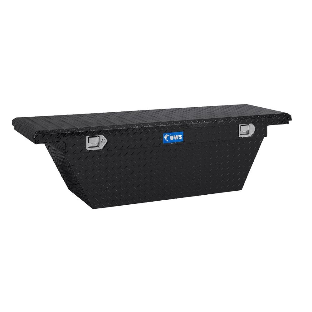 63 in. Aluminum Black Single Lid Crossover Tool Box with Deep