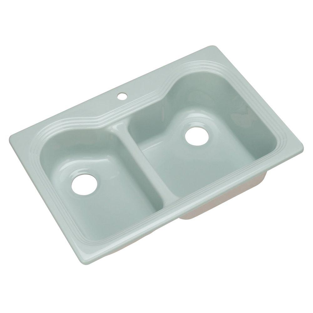 Breckenridge Drop-In Acrylic 33 in. 1-Hole Double Bowl Kitchen Sink in