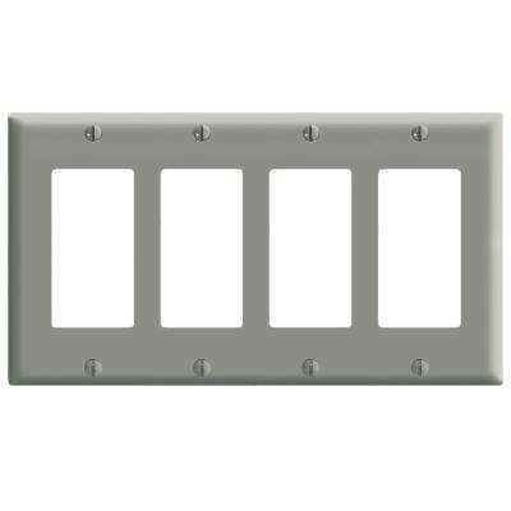 4-Gang Decora Wall Plate, Gray