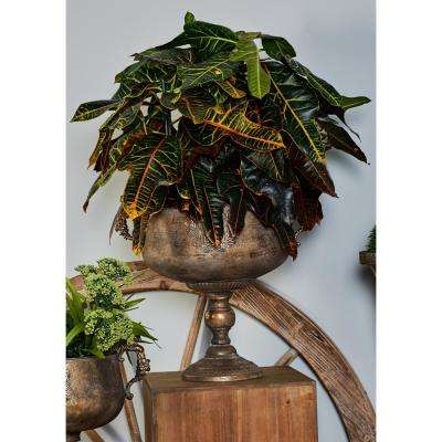 18 in. x 14 in. Tarnished Brass Iron Chalice Urn Planter