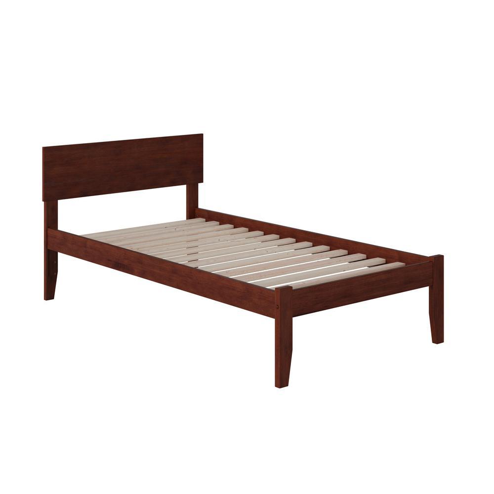 Orlando Walnut Twin Platform Bed with Open Foot Board