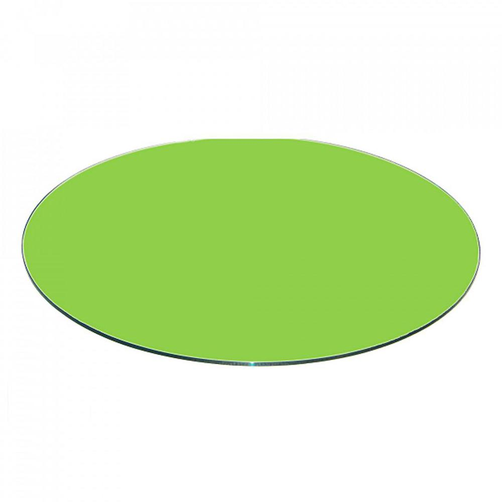 Fab Gl And Mirror 20 Inch Green Round Table Top Back Painted 3