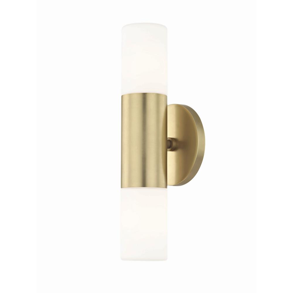 Mitzi By Hudson Valley Lighting Lola 2 Light Aged Br Led Wall Sconce With Opal
