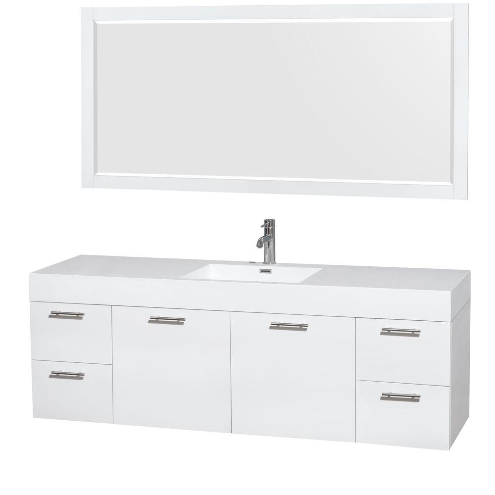 Wyndham Collection Amare 72 In. Vanity In Glossy White With Acrylic Resin  Vanity Top