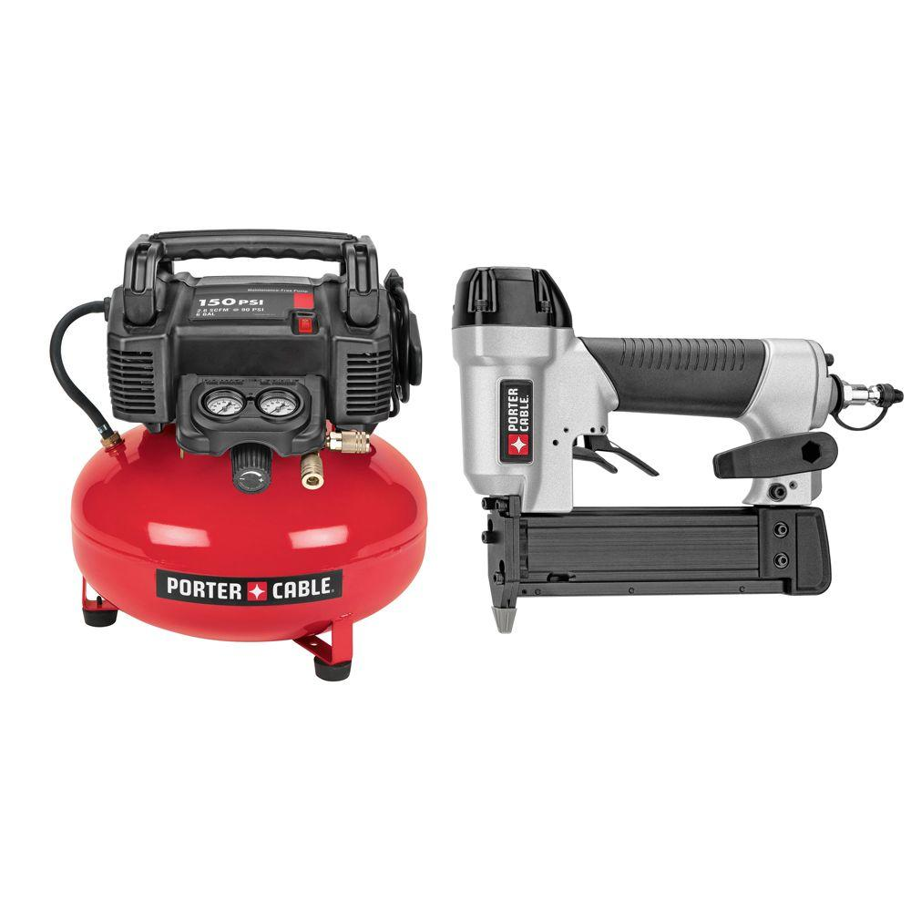 6 Gal. 150 PSI Portable Electric Air Compressor and Pin Nailer