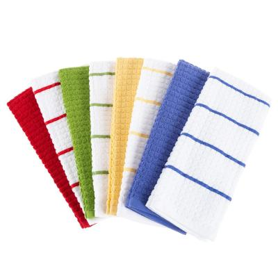 Multi-Color Waffle Weave Striped and Solid Color Cotton Kitchen Towel Set (8-Pieces)