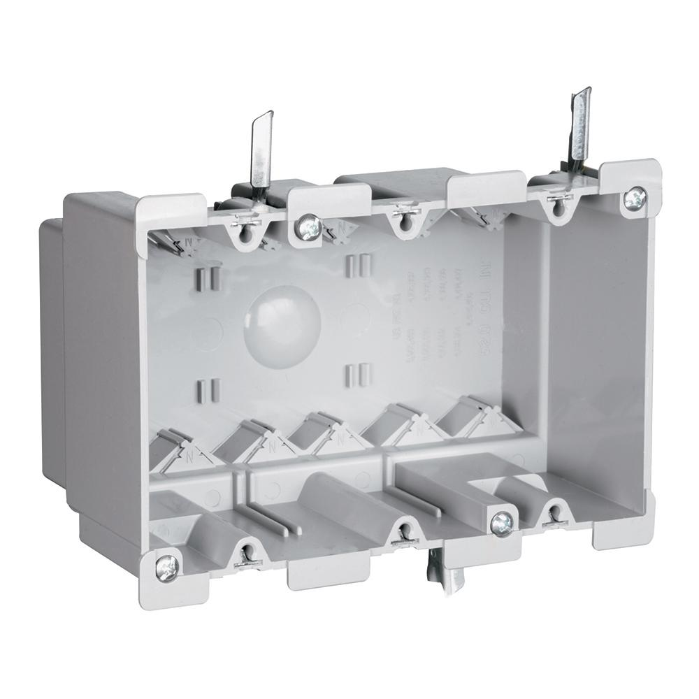 Legrand Pass and Seymour Slater Old Work Plastic 3-Gang Swing Bracket Switch and Outlet Box with Quick/Click