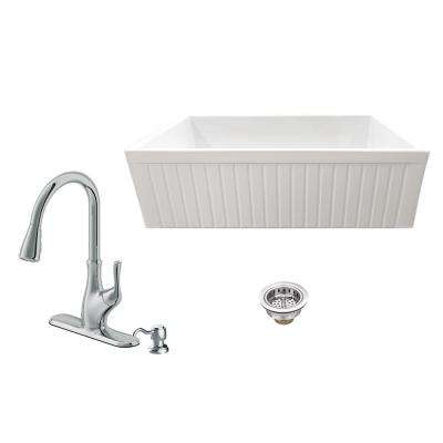 All-in-One Apron Front Fluted/Plain Reversible Fireclay 33 in. Single Bowl Kitchen Sink with Faucet and Strainer