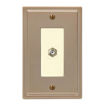 Moderne 1 Gang Coax Steel Wall Plate - Brushed Bronze