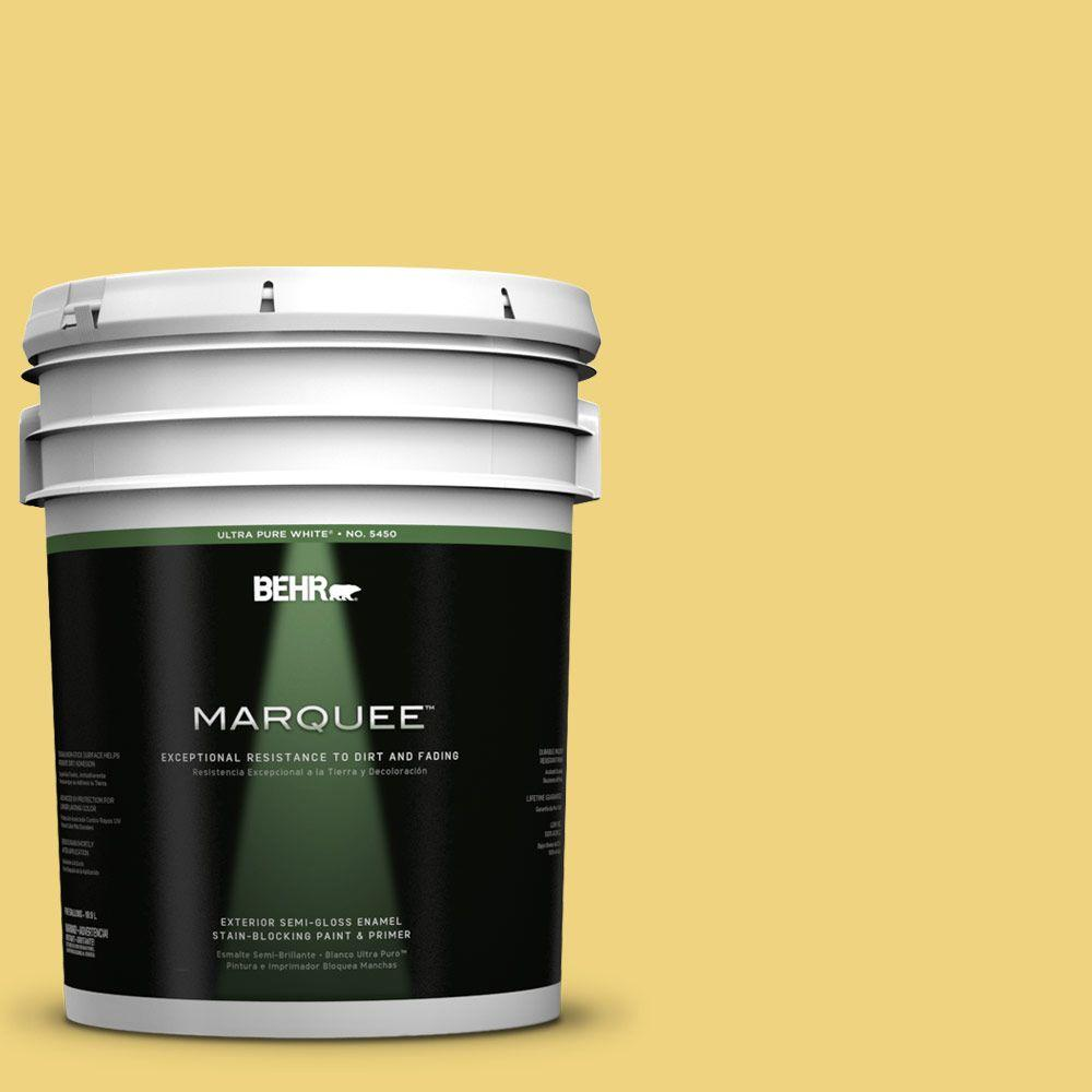BEHR MARQUEE 5-gal. #380D-4 Feather Gold Semi-Gloss Enamel Exterior Paint