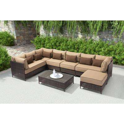 Pinery Patio Ottoman in Brown with Beige Cushion