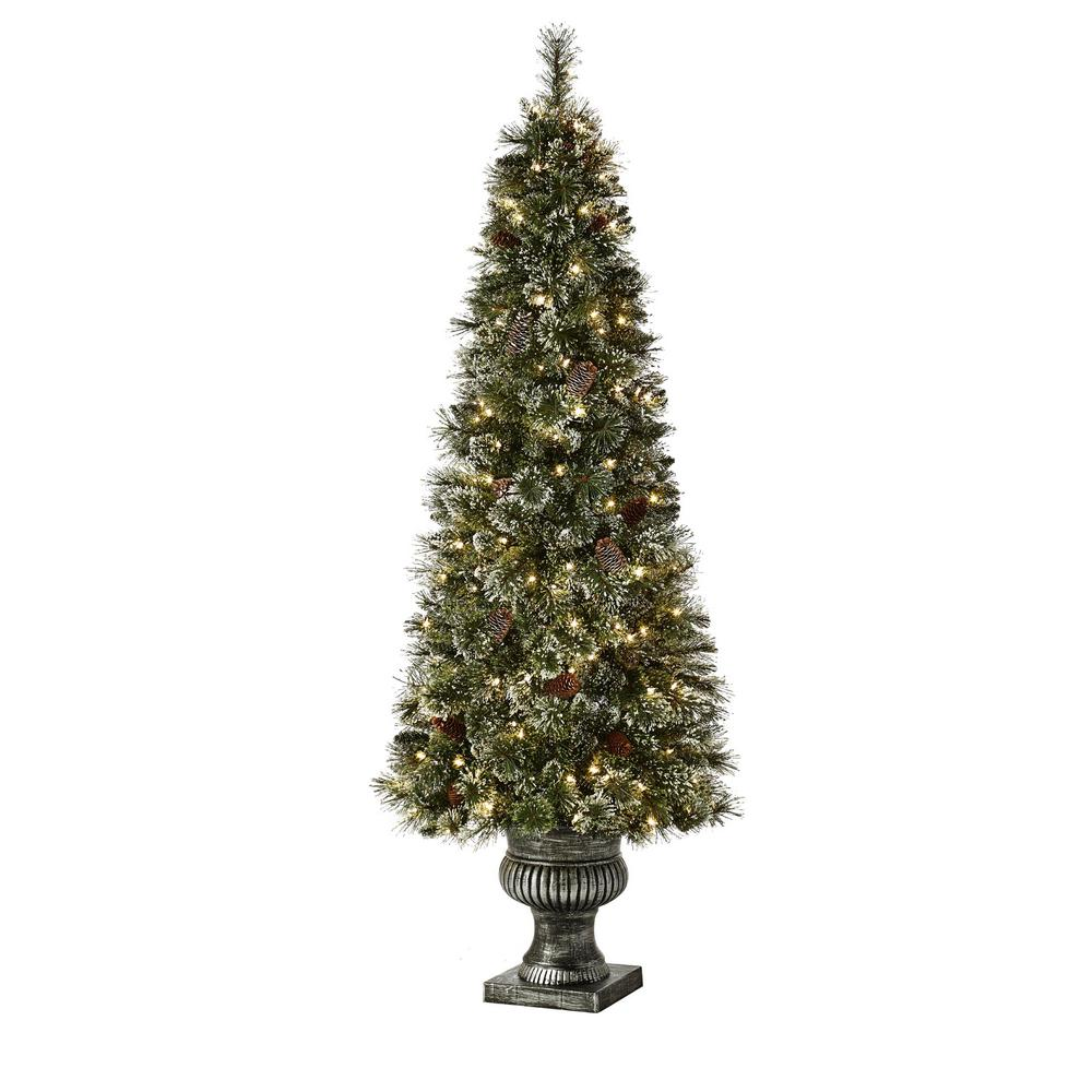 HomeAccentsHoliday Home Accents Holiday 6.5 ft. Pre-Lit Sparkling Amelia Pine Potted Artificial Christmas Tree with 490 Tips and 200 Clear Lights