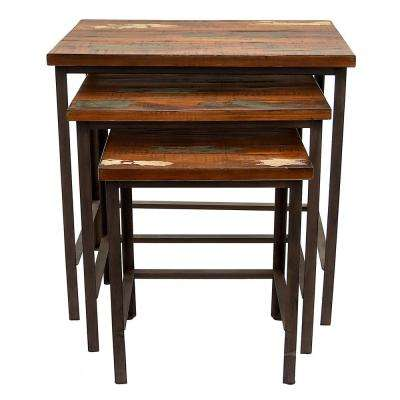 24.75 in. x 17.25 in. Brown Wood and Metal Tables (Set of 3)