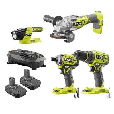 18-Volt ONE+ Li-Ion Brushless 4-Tool Combo Kit with Drill, Grinder, Impact Driver, Light, (2)1.5Ah Batteries and Charger