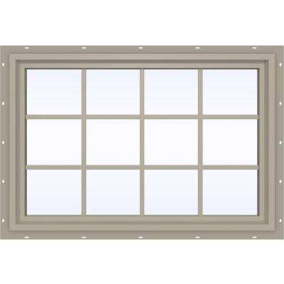 47.5 in. x 35.5 in. V-4500 Series Fixed Picture Vinyl Window with Grids in Tan