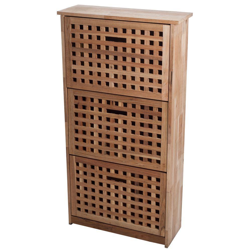 9-Pair 3-Drawer Wooden Shoe Storage Cabinet
