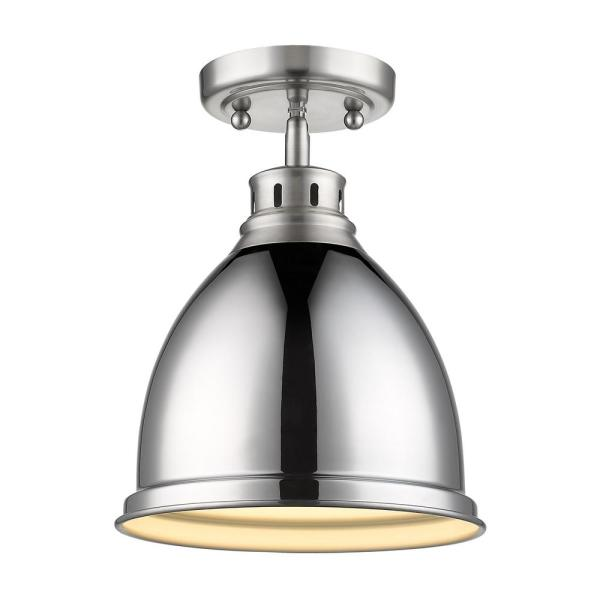 Duncan 9 in. 1-Light Pewter with Chrome Shade Flush Mount