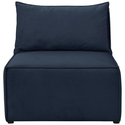 Velvet Ink French Seamed Sectional Armless Chair