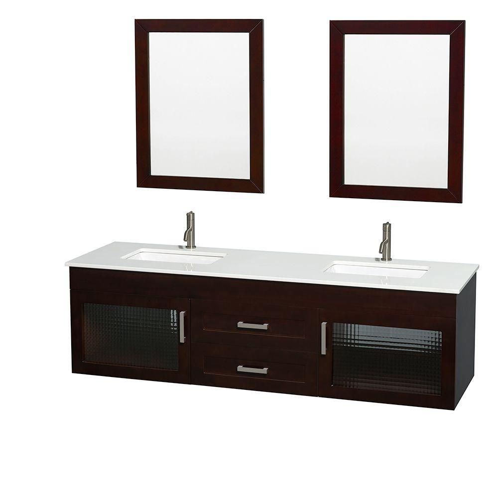 Wyndham Collection Manola 72 in. Double Vanity in Espresso with Glass Vanity Top in White, Undermount Square Sinks and 24 in. Mirrors
