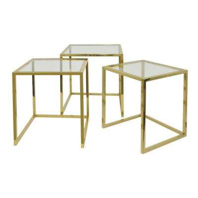 22 in. Gold Nesting Table (Set of 3)