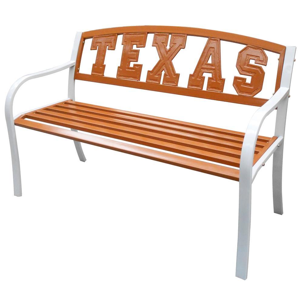 Leigh Country Texas Longhorns Metal Patio Bench Tx 93554 The Home Depot