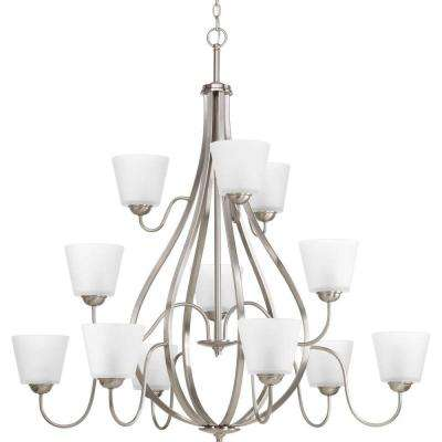 Arden Collection 12-Light Brushed Nickel Chandelier with Etched Glass Shade