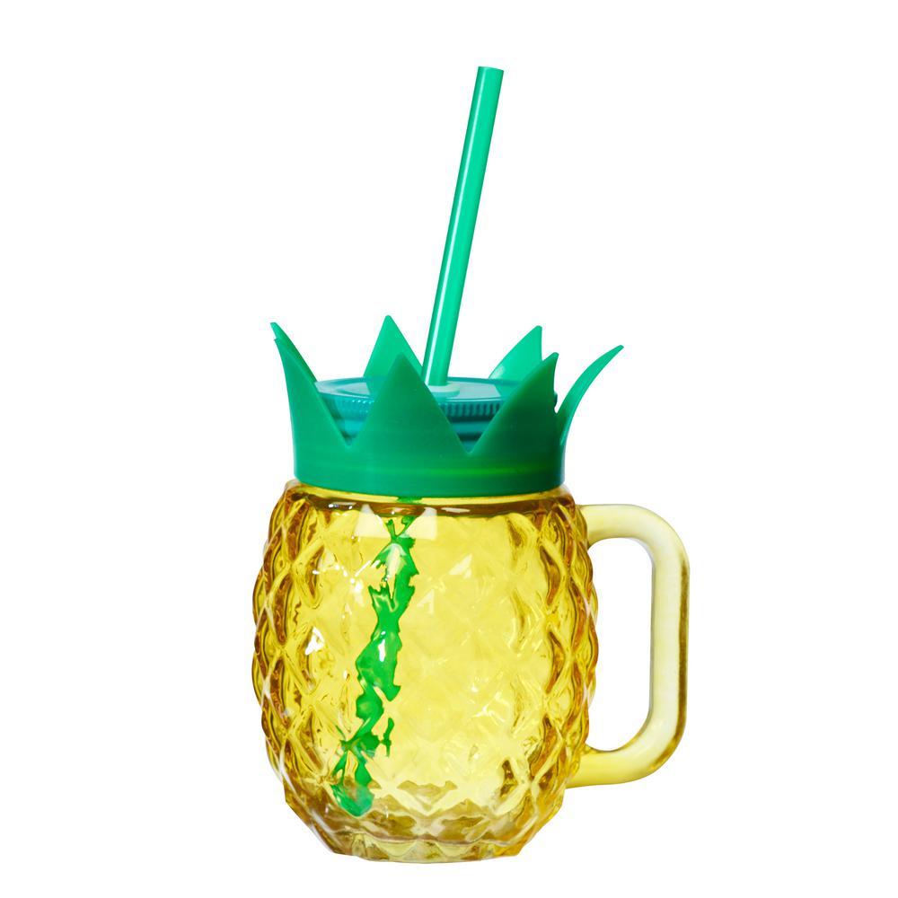 Paradise Pineapple Yellow Glass Mason Jar Set with Plastic Straws (4-Piece)