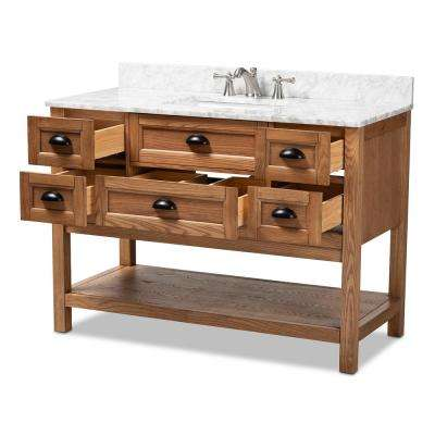 Alamitos 48 in. W x 34.7 in. H Bath Vanity in Brown with Vanity Top in White with High Gloss White Basin