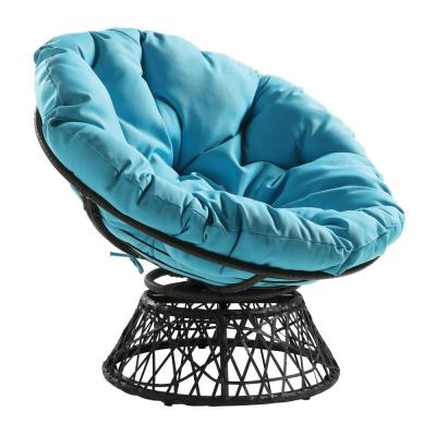 Papasan Chair with Blue Round Pillow-Top Cushion and Grey frame