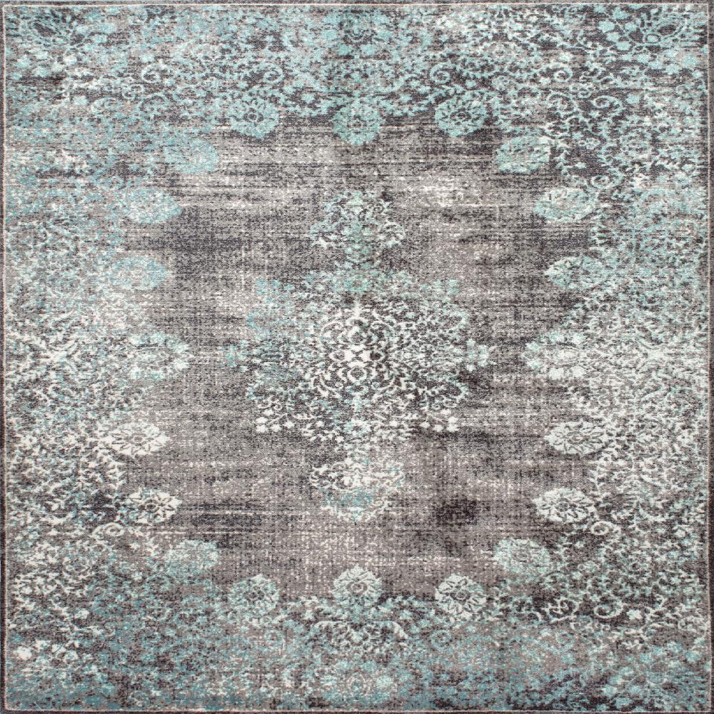 Nuloom Lacy Vintage Floral Teal 8 X 8 Square Rug Binb03a S808