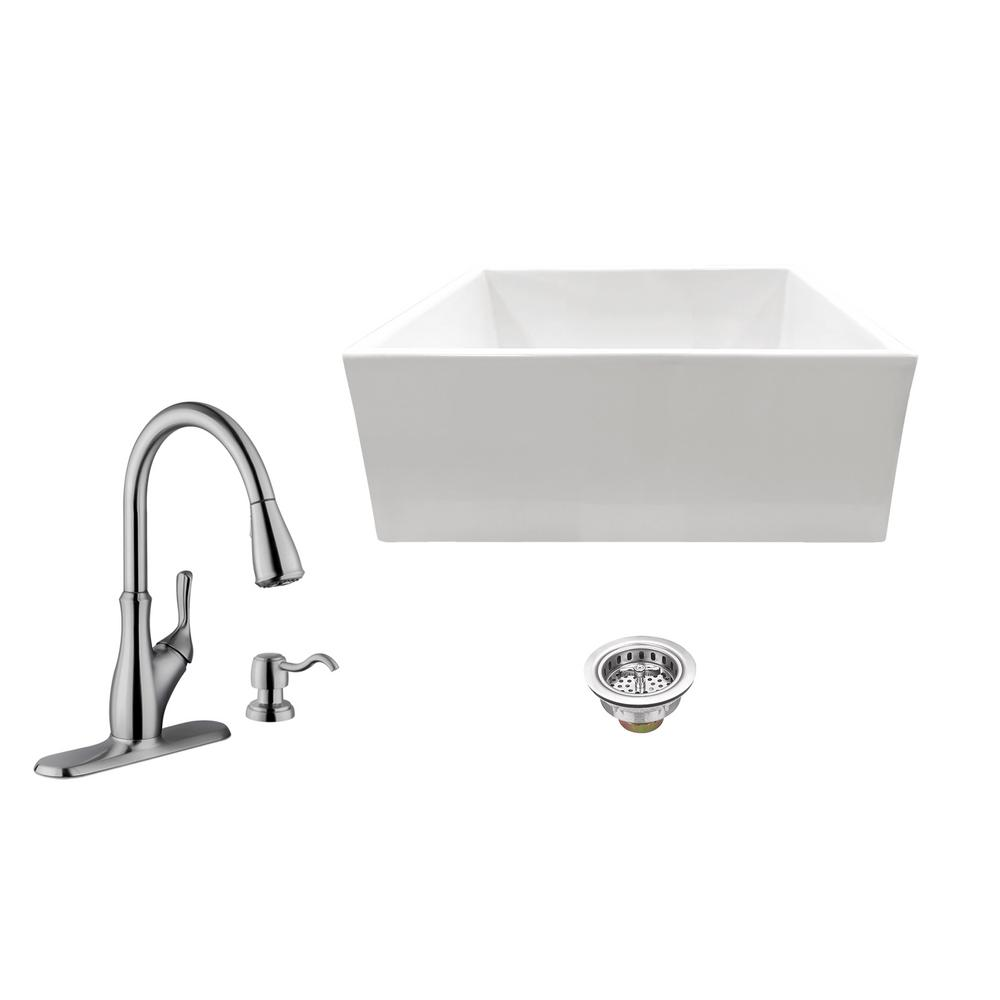 All-in-One Apron Front Fireclay 24 in. Single Bowl Kitchen Sink with