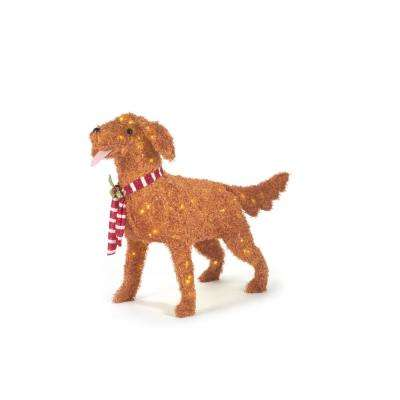 33.75 in. Christmas LED Lighted Fuzzy Golden Retriever with Holly