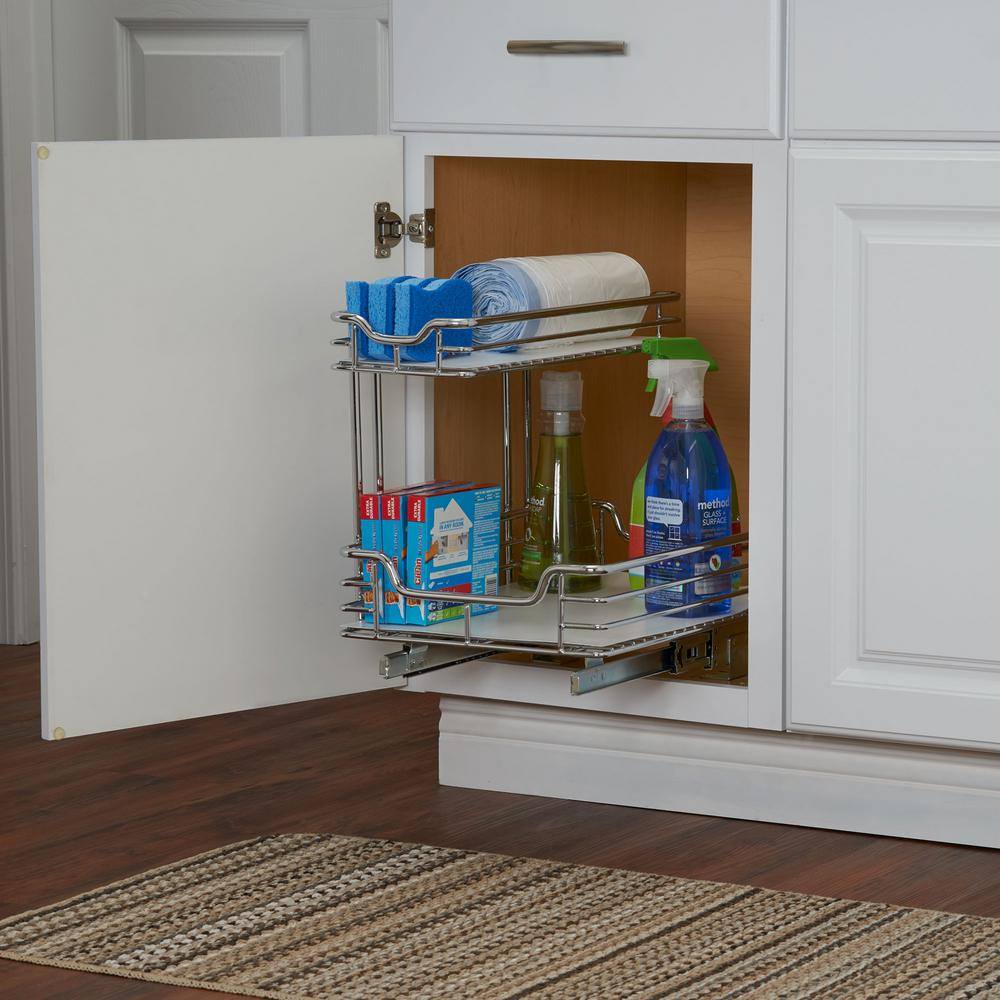 Under Cabinet Drop Down Shelf Hardware: 12 In. Under Sink Organizer In Chrome With White Liner