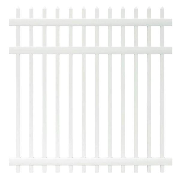 Manchester 6 ft. H x 6 ft. W White Vinyl Spaced Picket Fence Panel - Unassembled