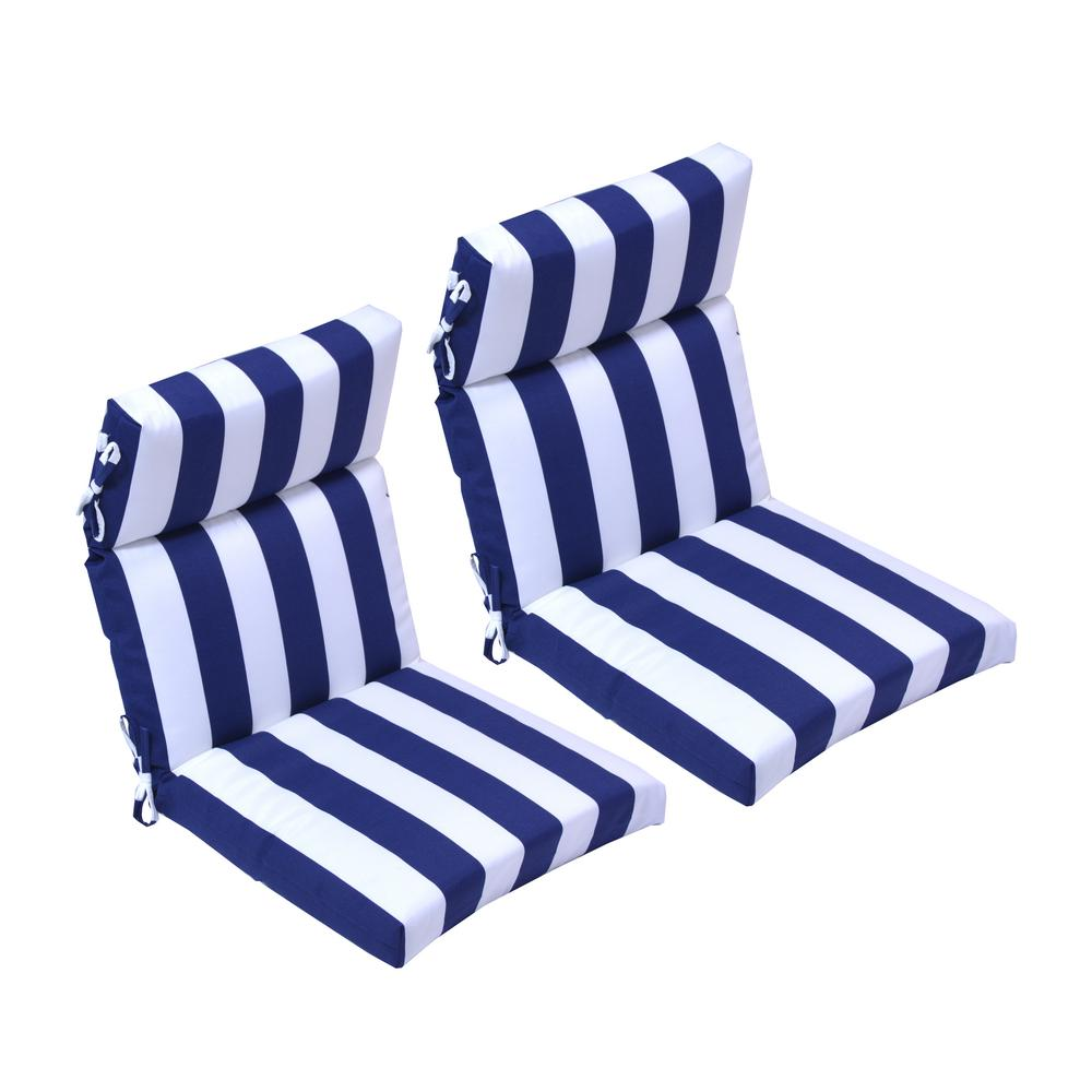 21.5 in. x 44 in. Navy Cabana Outdoor High Back Dining ...