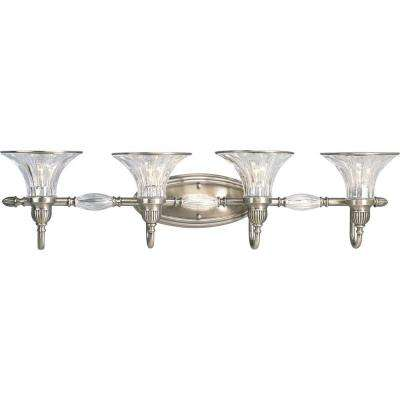 Roxbury Collection 4-Light Classic Silver Vanity Light with Clear Crystal Glass Shades