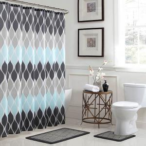 Clarisse Geometric 18 In X 30 In Bath Rug And 72 In X 72 In Shower Curtain 15 Piece Set In Grey Blue