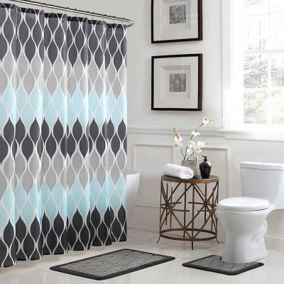 Clarisse Geometric 18 in. x 30 in. 15-Piece Bath Rug and Shower Curtain Set in Grey/Blue