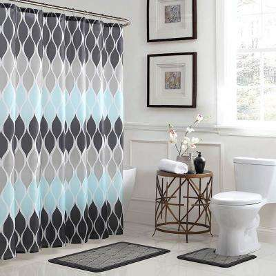Clarisse Geometric 18 in. x 30 in. Bath Rug and 72 in. x 72 in. Shower Curtain 15-Piece Set in Grey/Blue