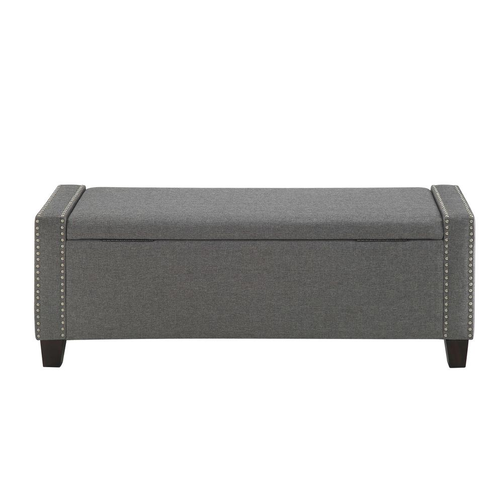 Kelly Gray Linen Storage Bench