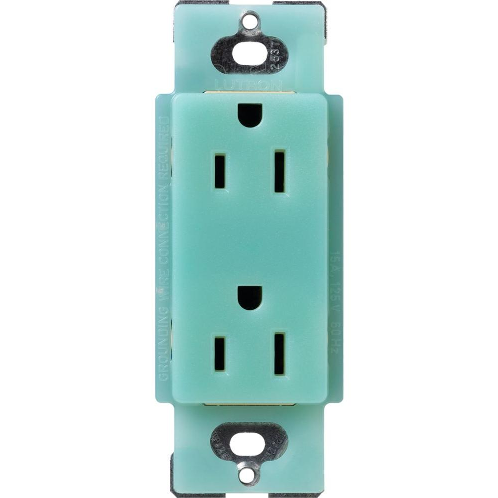 Satin Colors 15 Amp Tamper-Resistant Duplex Receptacle - Sea Glass