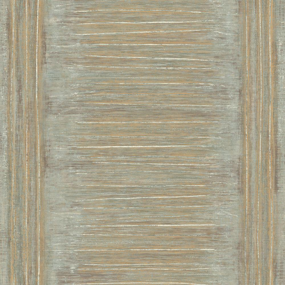 The Wallpaper Company 56 sq. ft. Grey and Metallic Gold Large Natural Stripe with a Modern Twist Wallpaper