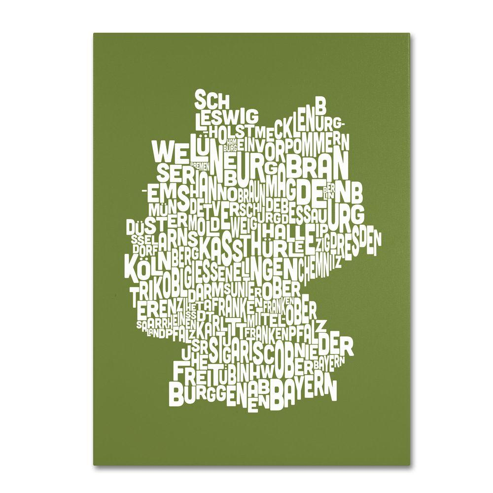 14 in. x 19 in. Germany Regions Map - Olive Canvas