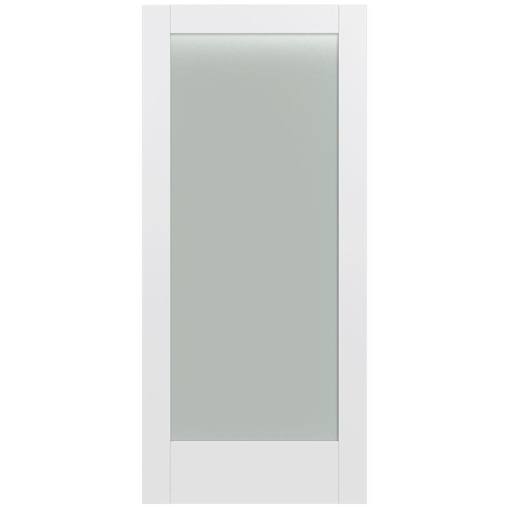 Jeld-Wen 36 in. x 80 in. Moda Primed PMT1011 Solid Core Wood Interior Door Slab w/Translucent Glass