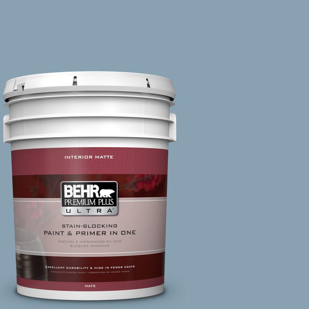 BEHR Premium Plus Ultra 5 gal. #T14-14 Cloisonne Blue Flat/Matte Interior Paint