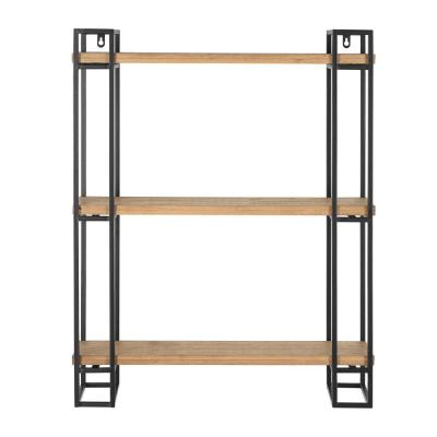 30 in. H x 24 in. W x 8 in. D Home Decorators Collection Wood and Black Metal Wall-Mount Bookshelf